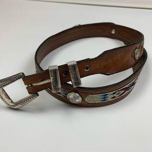 Vintage 90s Retro Aztec Western Lather Belt